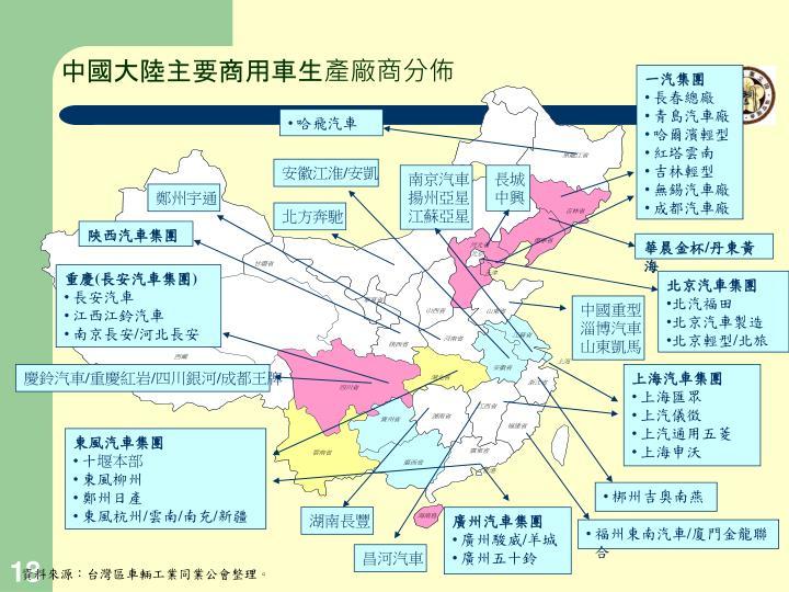 中國大陸主要商用車生產廠商分佈