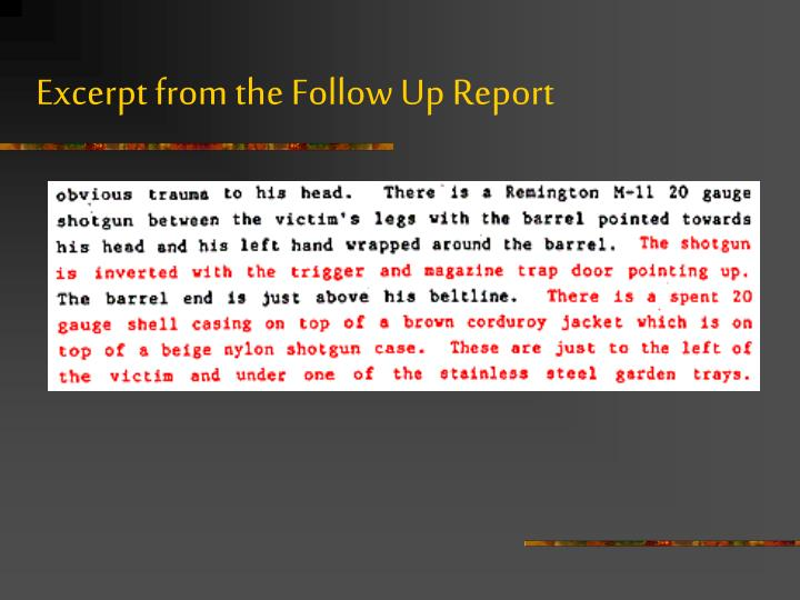 Excerpt from the Follow Up Report