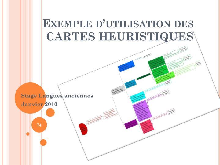 Exemple dutilisation des CARTES HEURISTIQUES