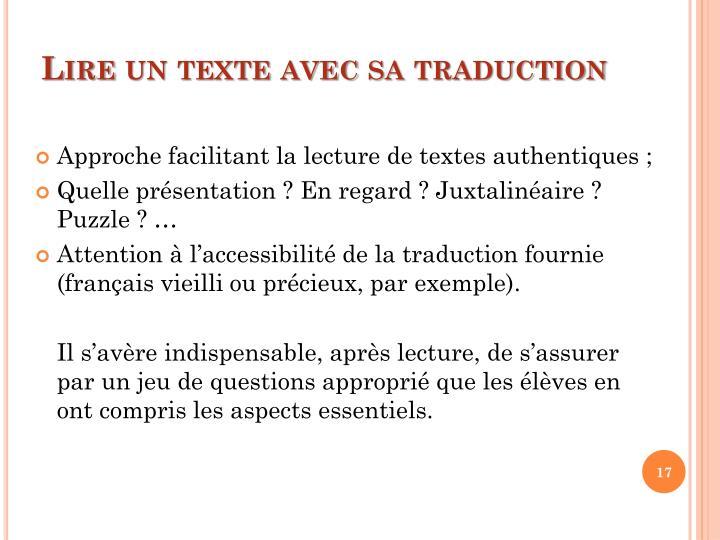 Lire un texte avec sa traduction