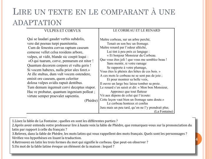 Lire un texte en le comparant  une adaptation