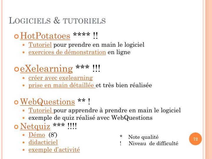 Logiciels & tutoriels