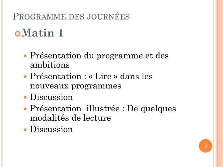 Programme des journes