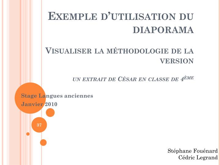 Exemple dutilisation du diaporama