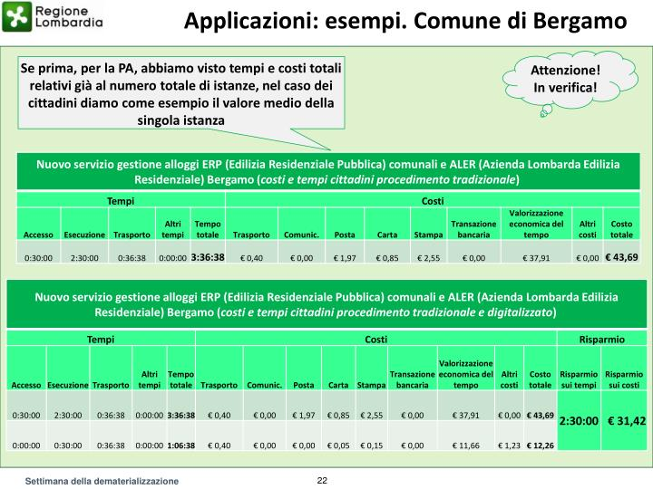 Applicazioni: esempi. Comune di Bergamo
