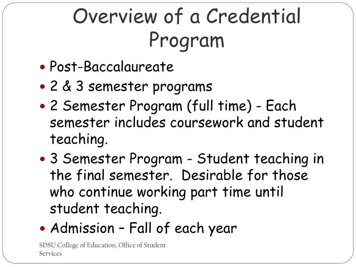 Overview of a Credential Program