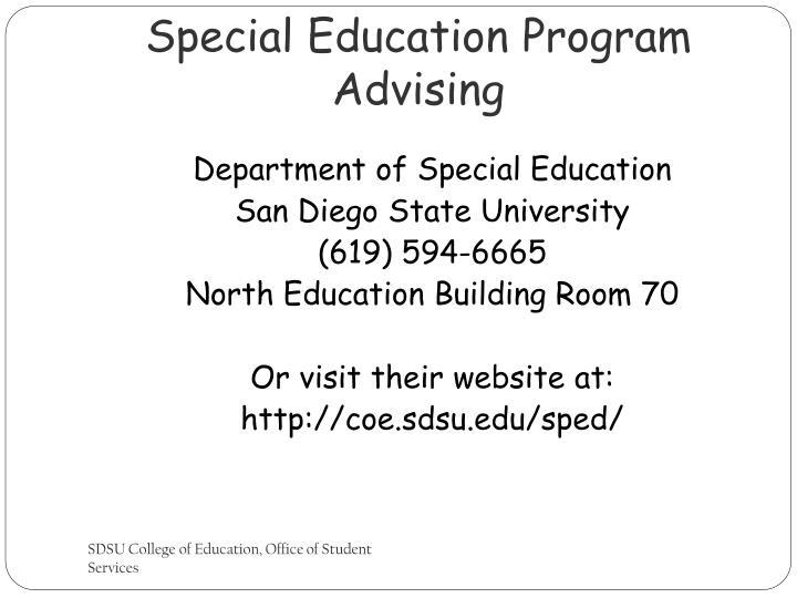 Special Education Program Advising