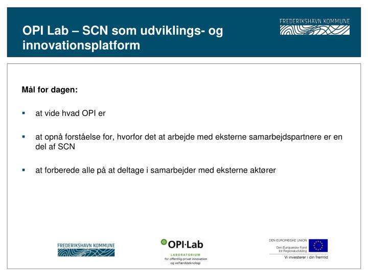 OPI Lab – SCN som udviklings- og innovationsplatform