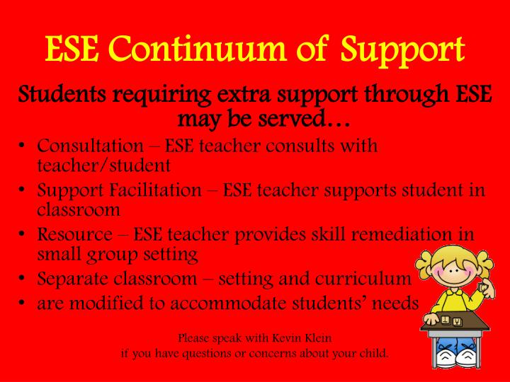 ESE Continuum of Support