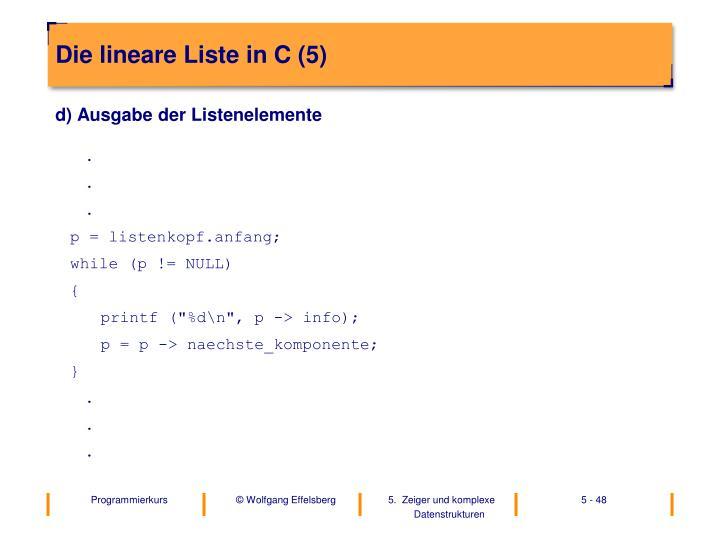 Die lineare Liste in C (5)