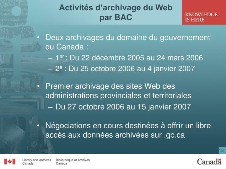 Activités d'archivage du Web par BAC