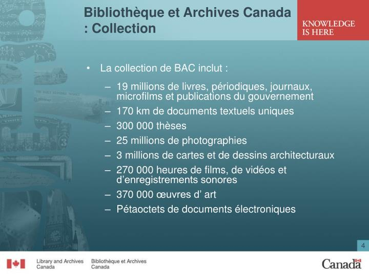 Bibliothèque et Archives Canada : Collection