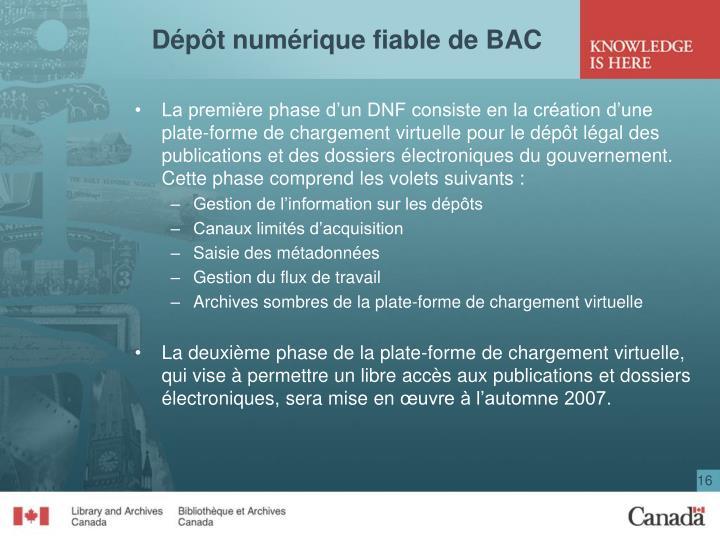 Dépôt numérique fiable de BAC