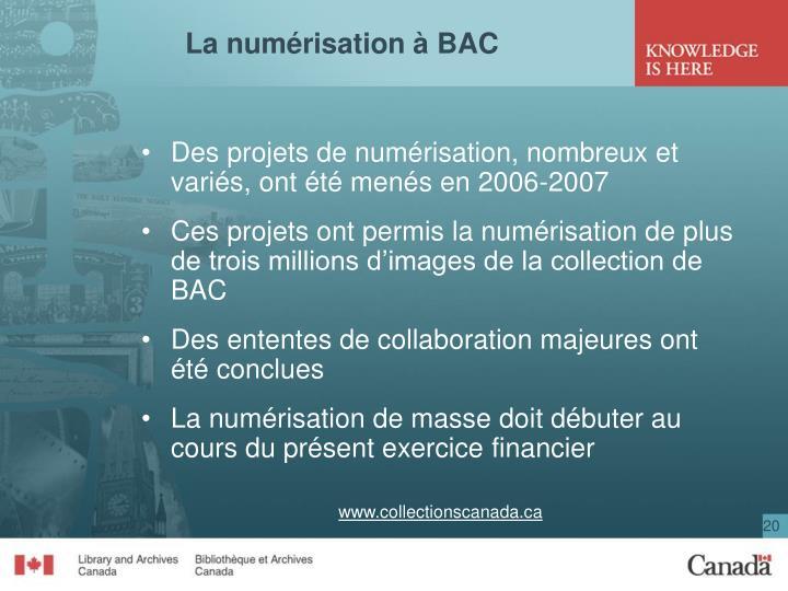 La numérisation à BAC