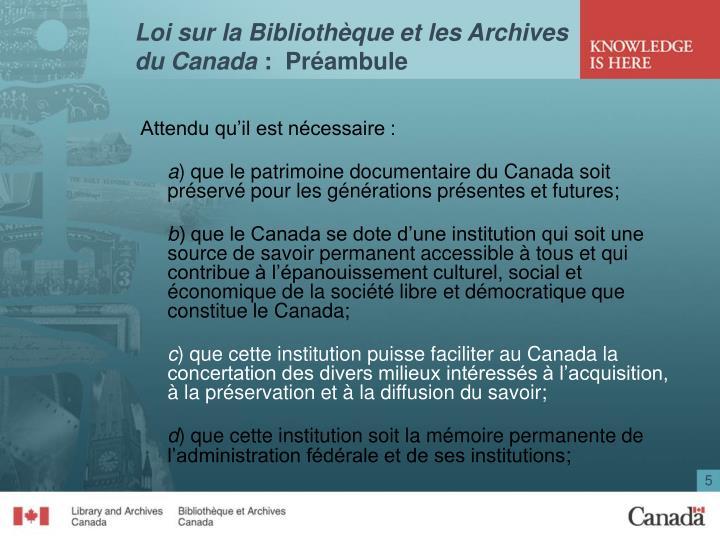 Loi sur la Bibliothèque et les Archives du Canada