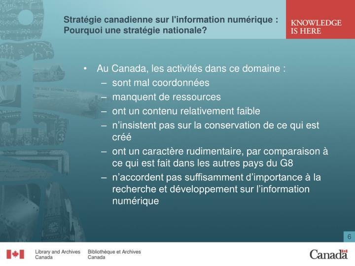 Stratégie canadienne sur l'information numérique :