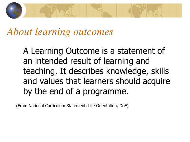About learning outcomes