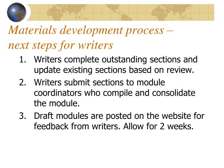 Materials development process – next steps for writers