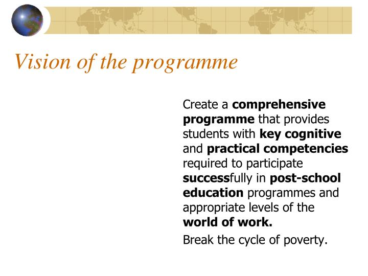 Vision of the programme