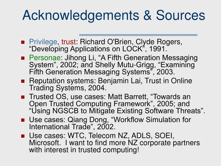 Acknowledgements & Sources