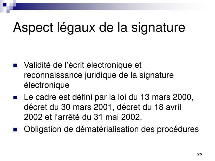 Aspect légaux de la signature