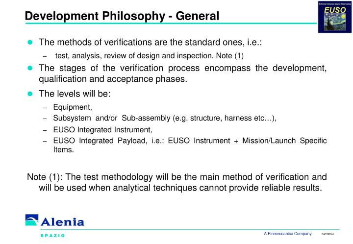 Development Philosophy - General