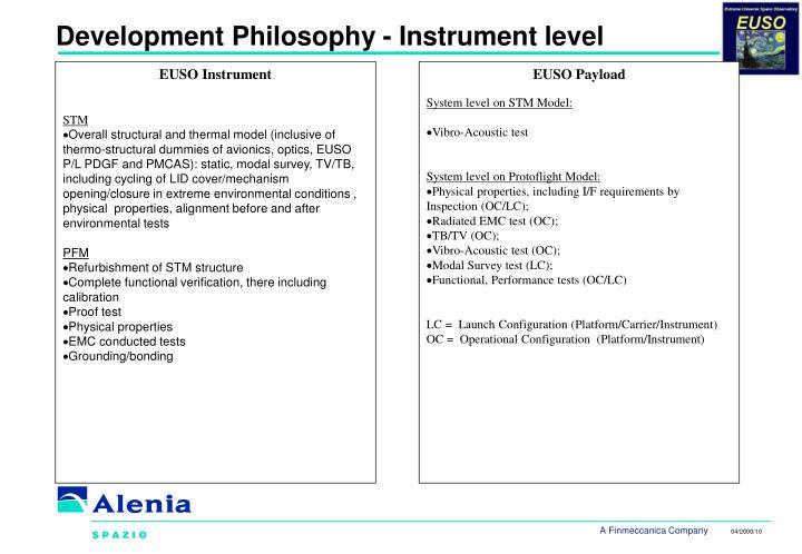 Development Philosophy - Instrument level