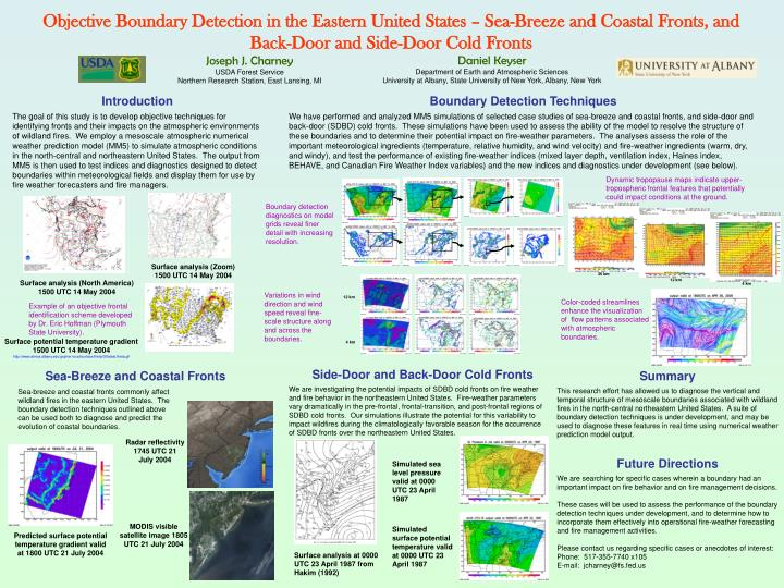 Objective Boundary Detection in the Eastern United States – Sea-Breeze and Coastal Fronts, and Bac...