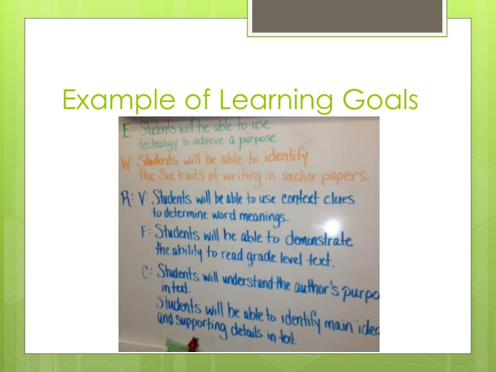 Example of Learning Goals