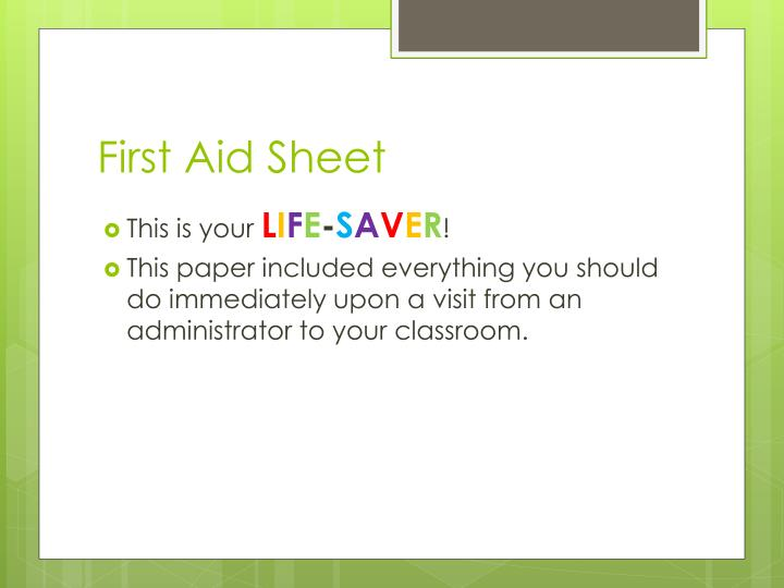 First Aid Sheet