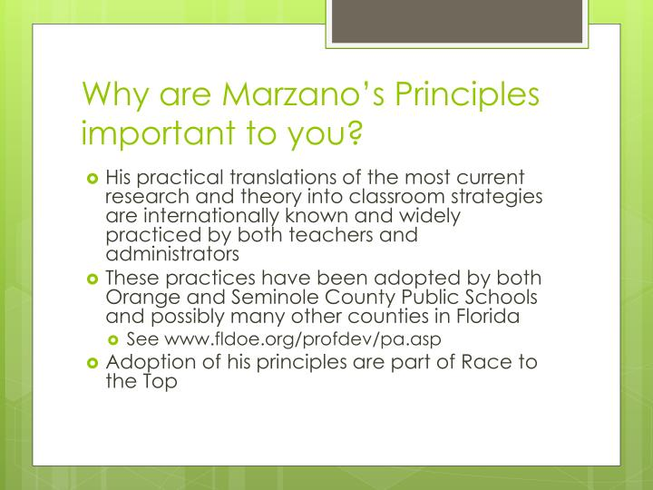 Why are marzano s principles important to you