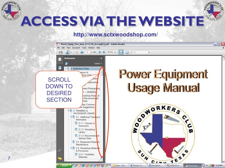 ACCESS VIA THE WEBSITE