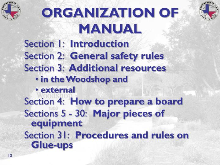 ORGANIZATION OF MANUAL