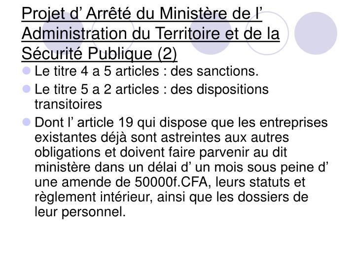 Projet d' Arrêté du Ministère de l' Administration du Territoire et de la Sécurité Publique (2)