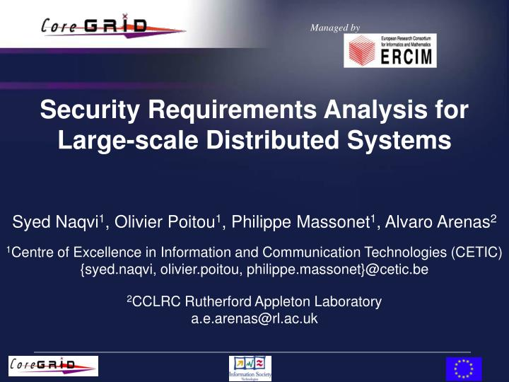 Security requirements analysis for large scale distributed systems