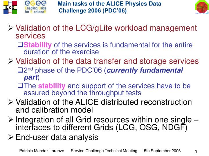 Main tasks of the ALICE Physics Data Challenge 2006 (PDC'06)