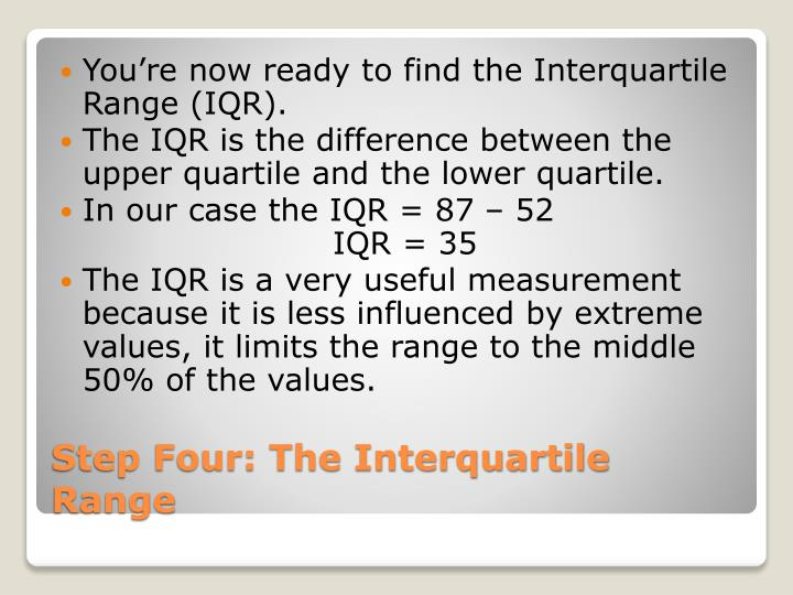 You're now ready to find the Interquartile Range (IQR).