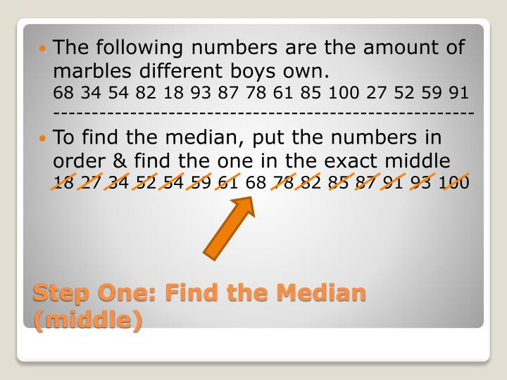 The following numbers are the amount of marbles different boys
