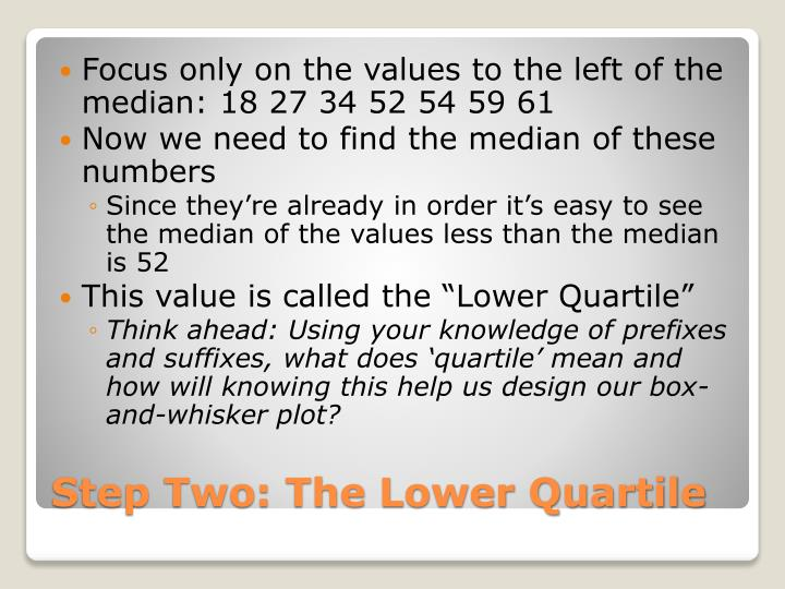 Focus only on the values to the left of the median: 18 27 34 52 54 59 61