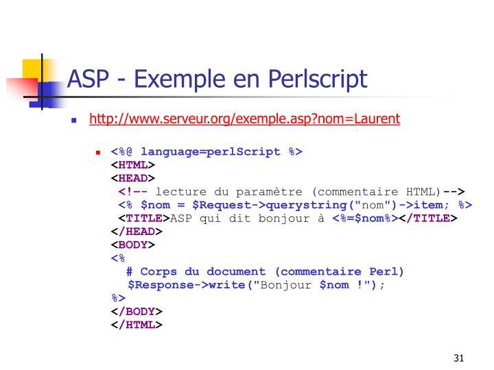 ASP - Exemple en Perlscript