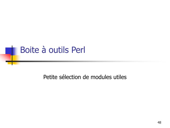 Boite à outils Perl
