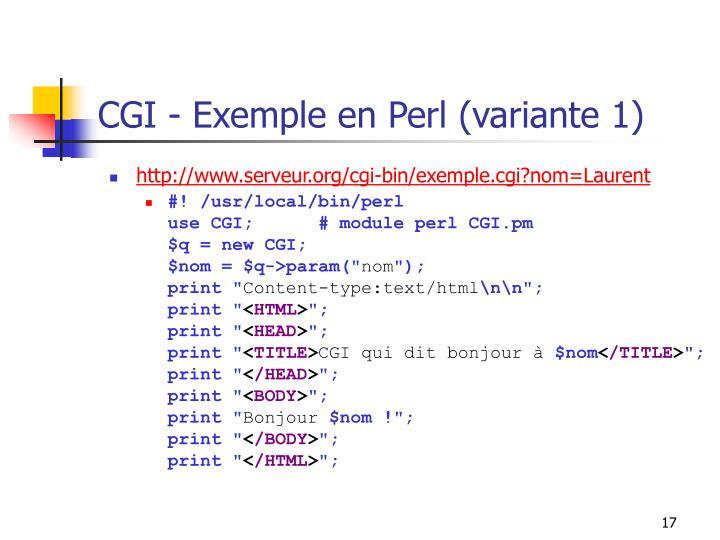 CGI - Exemple en Perl (variante 1)