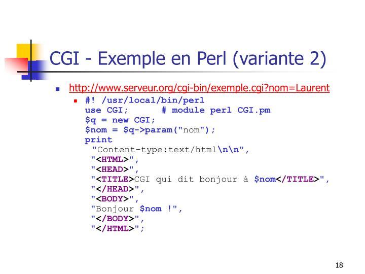 CGI - Exemple en Perl (variante 2)