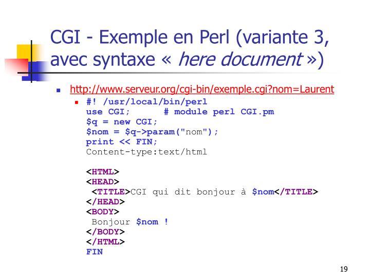 CGI - Exemple en Perl (variante 3, avec syntaxe «