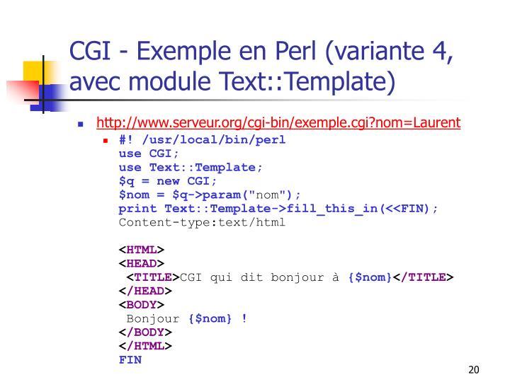 CGI - Exemple en Perl (variante 4, avec module Text::Template)