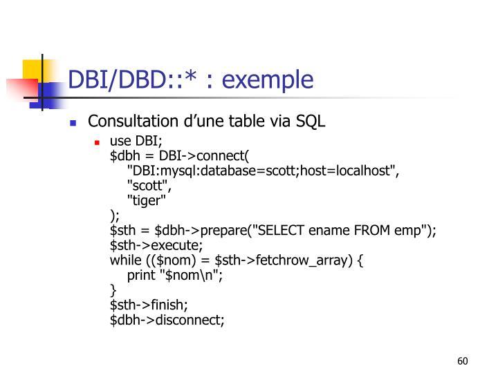 DBI/DBD::* : exemple