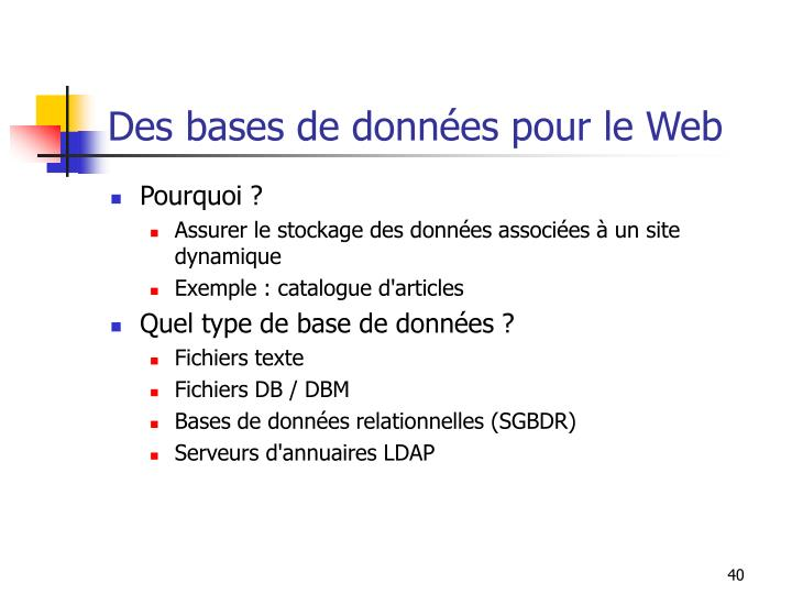 Des bases de données pour le Web