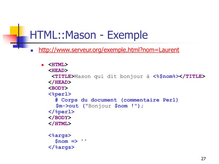 HTML::Mason - Exemple