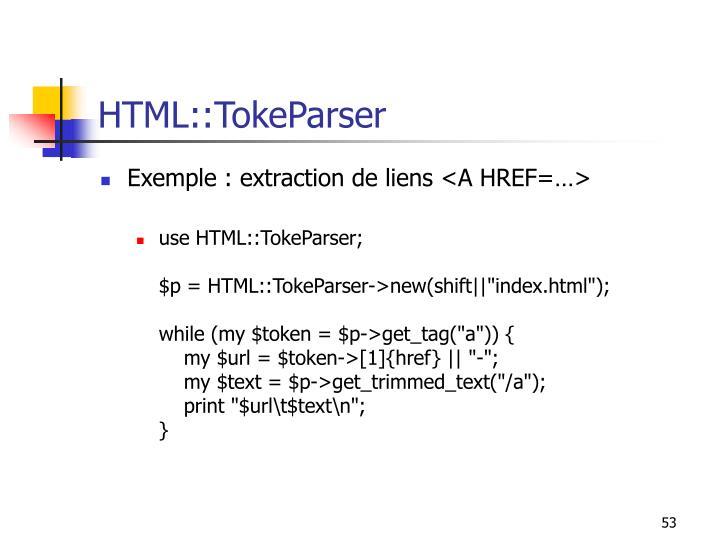HTML::TokeParser