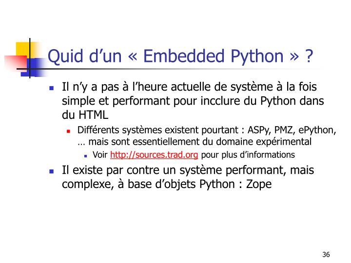 Quid d'un «Embedded Python» ?